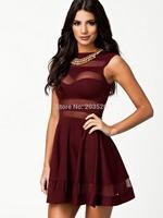 2014 A new translucent dress was thin waist dress new European and American women's clubs gauze
