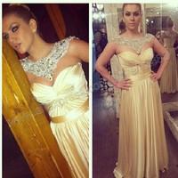 Sweetheart A-line Draped Crystal Beaded Satin Chiffon Long Evening Dresses For Pregnant Women 2014 Leonora Jakupi