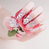 New 24pcs Cute Clear Crystal Crown  Full Cover Fasles Bridal Nail Decorated Acrylic Nail Tips Drop Ship  HC09-WD-002