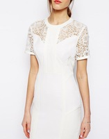2014 New hollow out white lace women slim summer dress cocktail/formal/party Dress 1407  -Free Shipping