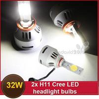 New Wholesale H11 32W 12V/24V 3200lm/bulb Super Power Cree LED headlight bulbs White Projector Beam Angle 180 degree