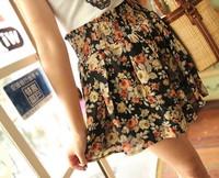 New 2014 Summer Korean  Skirts womens skirt  Chiffon Retro Floral Women Skirts Casual Ball Gown  Short  Skirts Free Shipping