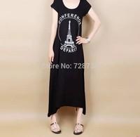 Free Shipping 2014 summer modal maxi casual female modal cotton slim long design short-sleeve o-neck one-piece dress t-shirt