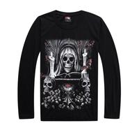 Male summer new tide brand hip hop T-shirt  long sleeves fertilizer noctilucent heavy metal skull heaven street dance shirt L029