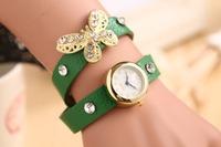 2014 Newest Hot Sale Fashion Women Dress Watch Vintage Retro Synthetic Leather Strap Watch Butterfly Rivet Bracelet Wristwatch