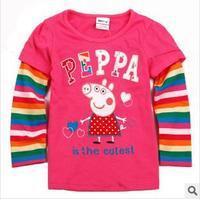 2014 autunm pig girls white tshirt kids cotton long sleeve embroidered tshirt girls cloth good quality