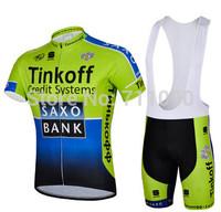 free shipping 2014 Saxo bank green short sleeve cycling jersey and bib shorts set/Ciclismo jersey/bicycle wear