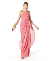New Arrival 2014 Sexy One Shoulder Light Pink Chiffon Ruched Floor Length Cheap Bridesmaid Dresses