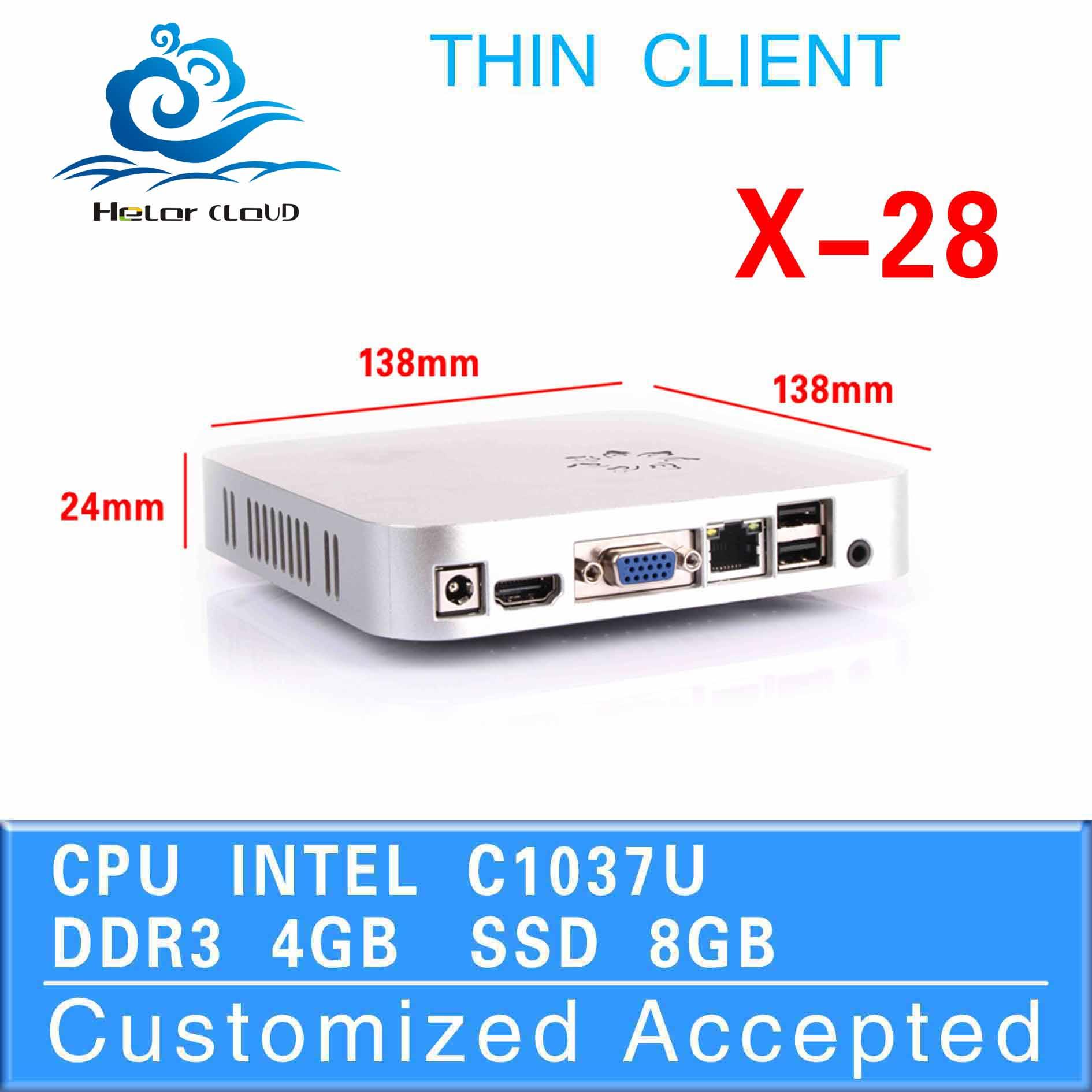 itx mini pc mini server pc games for windows X28 C1037U 4G RAM 8G SSD 4*USB2.0 13.8*13.8*2.4 cm Video Resolution:1920*1080(China (Mainland))