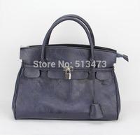 "H001(blue)Fashion PU women handbag,Shoulder straps adjustable & detachable,8 different colors, wide 14""x high 12"",Free shipping!"