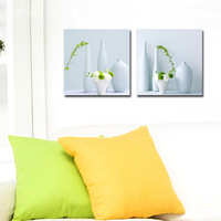 2 Panel modern wall art home decoration frameless oil painting canvas prints pictures P573 kitchen paintings white flower vase