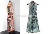 Free Shipping Plus Size new2014Summer Eurpean American Ladies Print Sleeveless Slimd Bodycon Beading Vintage Chiffon Long dress