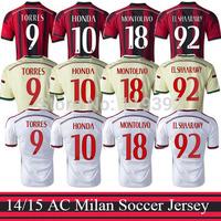 BALOTELLI KAKA HONDA football shirt 14 15 AC Milan Jerseys Top A+++ Thai Quality 2015 Milan Home Red Black Soccer Jersey
