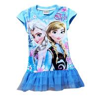 Girl's 2014 summer FROZEN Short sleeve Children shirt  Blue princess dress style