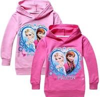1pcs/lot 2014 Frozen elsa anna girls boys nova full t-shirts kids children t shirts child autumn hoodies Tops & Tees free gift