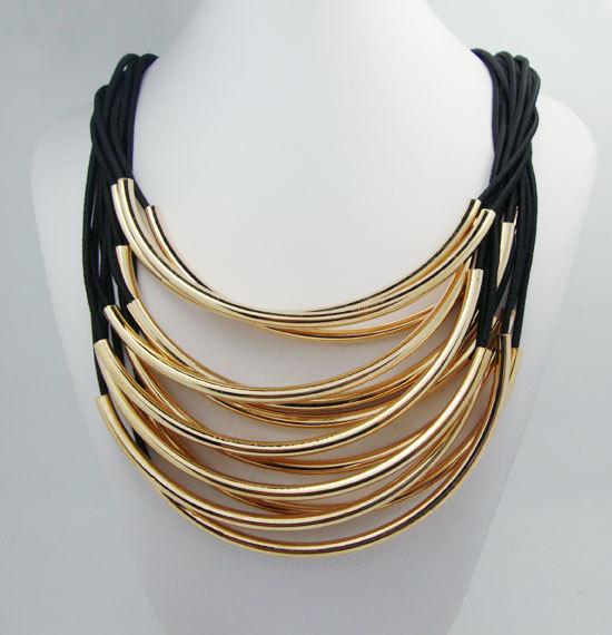 New Golden Tassels Multi Layers Draped Luxury Pendant Fashion Necklace & Pendants Chain For Women(China (Mainland))