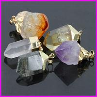 5PCS Mix Style Nature Gem Stone Pendant, Topaz/Amethyst/Clear Quartz Point Pendant Freedom Shape Rough Druzy Stone Pendant