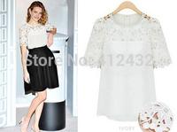 wholesale 2014 Women Hollow Out Patchwork Lace Blouses blusas de renda Short Sleeve Shirts Women blouse Plus Size p213