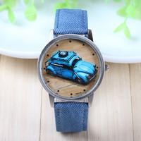 8 Colors New Arrival Fei Fan Brand Fabric Belt Wrist Watch Car Pattern Fashion Watch 1piece/lot BW-SB-890