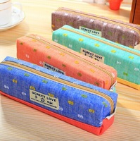 school pencil case pencil bag pen case canvas fabric 4 colors 19*4.5cm wholesale