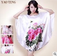 Guosetianxiang peony printed plus size sexy silk nighties for satin pajamas women summer home clothes sleepwear nightgown