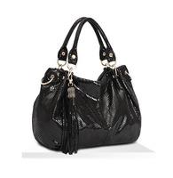 New Hot 2014 Fashion women Designer Brand HOT High Quality Snakeskin Cow Leather Tassel ladies Handbag girl's shoulder Bag