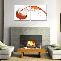 2 Panel modern wall art home decoration frameless oil painting canvas prints pictures P584 abstract wine pouring glass painting
