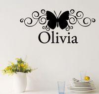 vine butterfly adesivos decorativos wall art custom name headboard wall sticker kids bedroom decor