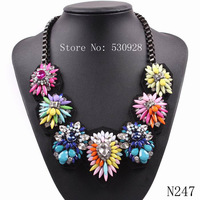 Hot Sale 2014 Summer Colorful High Quality Luxury  Rainbow Flower Crystal Pendant Necklaces For Fashion Women