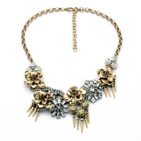 2014 European palace style Fashion luxury spike tassel crystal vintage bronze flower statement necklace Free shipping