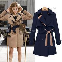 Europe New Winter Thicks Women Coat with Belt Casacos Femininos 2014