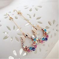 Free Shipping New Fashion Imitation Diamond Colorful Rhinestone Bow Earrings Vintage Jewelry  6pcs/lot