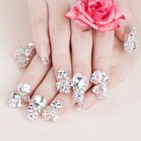 New 2014 Hot Crystal Pink  Wedding Full Cover  Fasles Bridal Nail DIY Derorations Acrylic Nail Art Tips Drop Ship HC09-WD-011