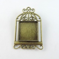 38773 Vintage Bronze Alloy Birdcage Cameo Setting Pin Brooch Base 20*20mm 8pcs