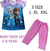 2014 Kids Pajama Sets Kids Minnie frozen set baby casual girls t shirt pants winter children hoodies clothing set free gift