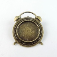 38774 Vintage Bronze Alloy Alarm Clock Cameo Setting Pin Brooch Base20*20mm 8pcs