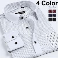 100% Cotton Mens Shirt XXXL 2014 Casual Men Shirts Slim Fit Camisas Masculina Long Sleeve New Fashion Polka Dot Male Clothing