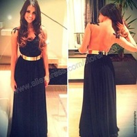 Black Lace and Chiffon Sheer Back Sexy Celebrity-Inspired Dresses Black Formal Dress With Gold Belt 2014
