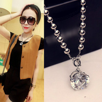 2014 new European and American fashion simple metal beads big crystal necklace chain clavicle female short paragraph