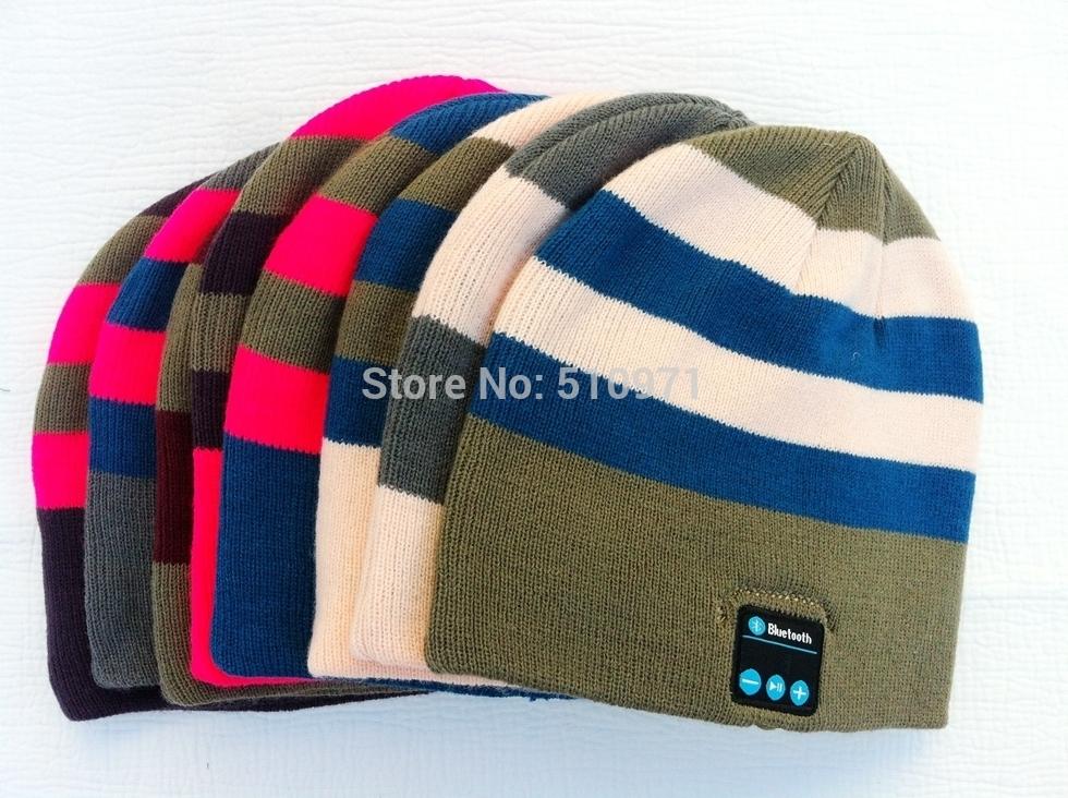 2014 bluetooth nuovo beanie cappello donne cap uomini striato maglia viva voce senza fili- Free speaker musica per l'inverno da corsa sport iphone