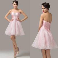 New Free Shipping 2014 AL09 Strapless Satin & Organza Short Back to School Pink Prom Dresses CL6141