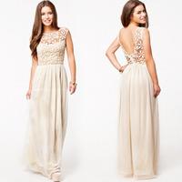 2014 Hot Sell Women Summer Sleeveless White Top Crochet Sexy Chiffon party Maxi Dress Shipping
