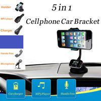 Adjustable Width Multi-function Car Holder AY-T16 ,Dual USB,  SD Card Slot, FM Radi, Handsfree, Earphone & Microphone