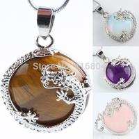 1Pc Dragon Gem Stone Half Ball Bead Pendant Charms Rose Quartz Amethyst Opal Tiger's Eye Stone