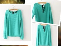 Autumn Sweaters 2014 women Fashion Loose Casual Concise O-neck Full Computer Knitted Bow Lace Green Pure Pullovers722O