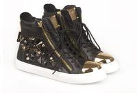 GZ women sneakers 2014 fashion high-top rivets man sneakers man women genuine leather shoes flats shoes EUR size 34-46