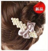 5pcs/lot Elegant pearl hair clips Popular bowknot Hairgrip Beautiful women hair accessories Best Barrette New design decoration