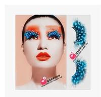 Feather masquerade party exaggerated false eyelashes feather eyelashes blue dot