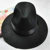 New 2014 Cool Wide Brimmed Unisex Fedoras Autumn Winter Black fashion Worsted Hat Women/Men Dance Cap 8 Styles Free shipping