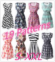 SZ058 2015 Hot Selling Women's Summer Vintage Print Flower Tank Dress Elastic Waist Spaghetti Strap Sleeveless Mini Dress S&Z